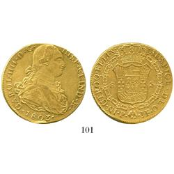 Popayan, Colombia, bust 8 escudos, Charles IV, 1803JF, salvaged.