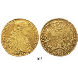 Bogota, Colombia, bust 8 escudos, Charles IV, 1805JJ.