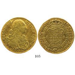 Bogota, Colombia, bust 8 escudos, Charles IV, 1806JJ.