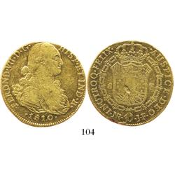 Popayan, Colombia, bust 8 escudos, Ferdinand VII transitional (bust of Charles IV), 1810JF.