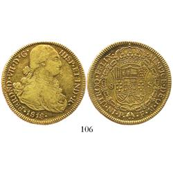 Popayan, Colombia, bust 8 escudos, Ferdinand VII (bust of Charles IV), 1818FM.