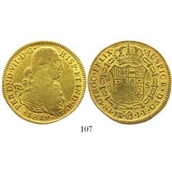 Bogota, Colombia, bust 8 escudos, Ferdinand VII (bust of Charles IV), 1819JF.