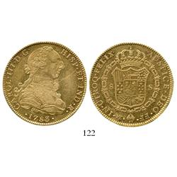 Mexico City, Mexico, bust 8 escudos, Charles III, 1783FF, ex: Eliasberg collection. inward-facing in