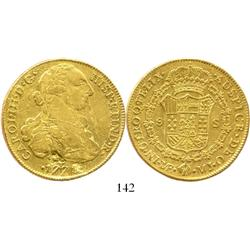 Lima, Peru, bust 8 escudos, Charles III, 1778MJ, salvaged.