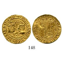Seville, Spain, 1 excelente, Ferdinand-Isabel (1474-1504), Gothic legends, 3 dots at top, large dot