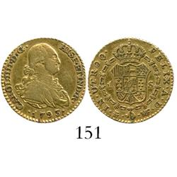 Madrid, Spain, bust 1 escudo, Charles IV, 1793MF.
