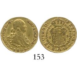 Madrid, Spain, bust 1 escudo, Charles IV, 1807FA.