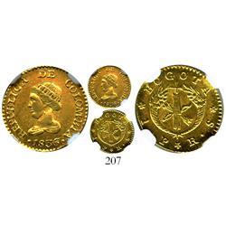 Bogota, Colombia, 1 peso, 1836RS, encapsulated NGC AU-58.