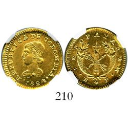Popayan, Colombia, 1 escudo, 1824FM, encapsulated NGC AU-58.
