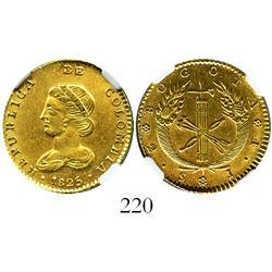 Bogota, Colombia, 2 escudos, 1825JF, encapsulated NGC AU-55, rare.