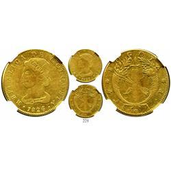 Bogota, Colombia, 4 escudos, 1826JF, encapsulated NGC F-15, rare.
