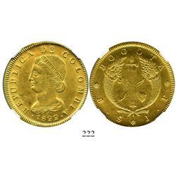 Bogota, Colombia, 8 escudos, 1822JF, encapsulated NGC AU-58.