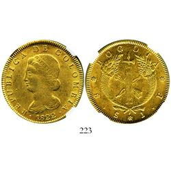 Bogota, Colombia, 8 escudos, 1822JF, encapsulated NGC AU-55.