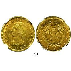 Bogota, Colombia, 8 escudos, 1823JF, encapsulated NGC AU-55.