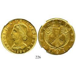 Bogota, Colombia, 8 escudos, 1824JF, encapsulated NGC AU-58.