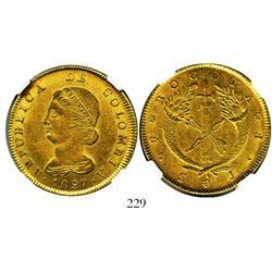 Bogota, Colombia, 8 escudos, 1827JF, encapsulated NGC AU-50.