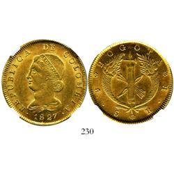 Bogota, Colombia, 8 escudos, 1827RR, encapsulated NGC AU-58.