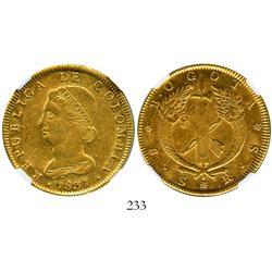 Bogota, Colombia, 8 escudos, 1831RS, encapsulated NGC AU-53.