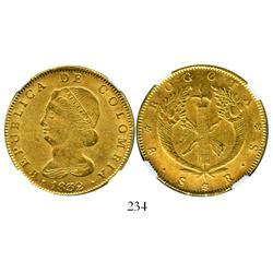Bogota, Colombia, 8 escudos, 1832RS, encapsulated NGC AU-58.