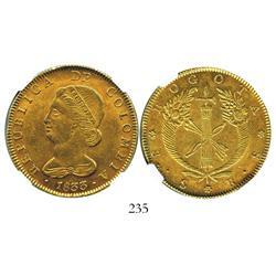 Bogota, Colombia, 8 escudos, 1833RS, encapsulated NGC AU-58.