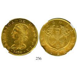 Bogota, Colombia, 8 escudos, 1834RS, encapsulated NGC AU details, reverse damage.