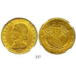 Bogota, Colombia, 8 escudos, 1835RS, encapsulated NGC AU-50.