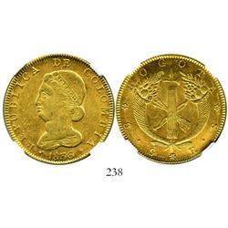 Bogota, Colombia, 8 escudos, 1836RS, encapsulated NGC AU-58.