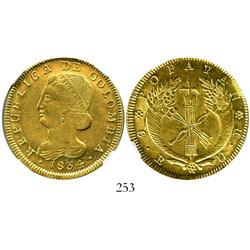 Popayan, Colombia, 8 escudos, 1834UR, encapsulated NGC AU-58.