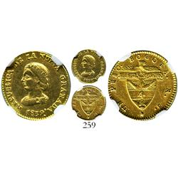 Bogota, Colombia, 1 peso, 1839RS, encapsulated NGC AU-50.