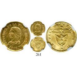 Bogota, Colombia, 1 peso, 1842RS, encapsulated NGC AU-55.