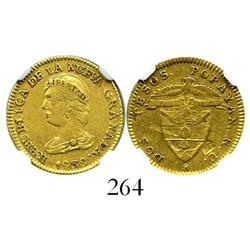 Popayan, Colombia, 2 pesos, 1838RU, encapsulated NGC VF-35.