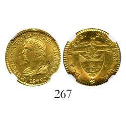 Popayan, Colombia, 2 pesos, 1846UE, encapsulated NGC UNC details, rim damage.