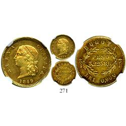 Bogota, Colombia, (2 pesos), 1849, encapsulated NGC AU-55, very rare.