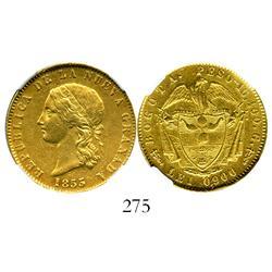 Bogota, Colombia, (10 pesos), 1853, encapsulated NGC AU-53, rare.