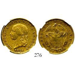 Bogota, Colombia, (10 pesos), 1854, encapsulated NGC XF-40.