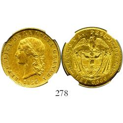 Bogota, Colombia, (10 pesos), 1856/5, encapsulated NGC AU-58.