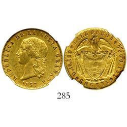 Bogota, Colombia, 10 pesos, 1857, encapsulated NGC AU-55.