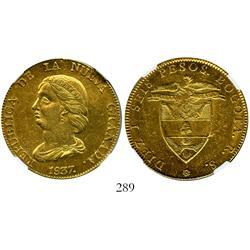 Bogota, Colombia, 16 pesos, 1837RS, encapsulated NGC AU-55.
