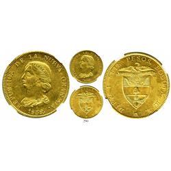 Bogota, Colombia, 16 pesos, 1838/7RS, encapsulated NGC MS-62.
