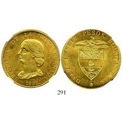 Bogota, Colombia, 16 pesos, 1838RS, encapsulated NGC MS-61.