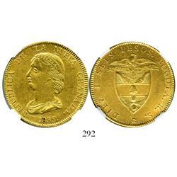 Bogota, Colombia, 16 pesos, 1839/8RS, encapsulated NGC AU-55.