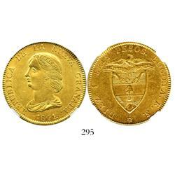 Bogota, Colombia, 16 pesos, 1841RS, encapsulated NGC AU-58.
