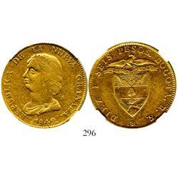 Bogota, Colombia, 16 pesos, 1842RS, encapsulated NGC XF-40.