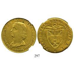 Bogota, Colombia, 16 pesos, 1843RS, encapsulated NGC XF-45.