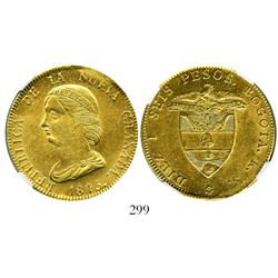 Bogota, Colombia, 16 pesos, 1845RS, encapsulated NGC AU-58.