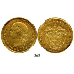 Bogota, Colombia, 20 pesos, 1862, encapsulated NGC XF-45.