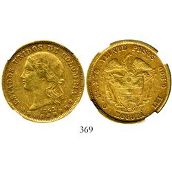 Bogota, Colombia, 20 pesos, 1863, encapsulated NGC XF-45.