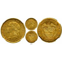 Bogota, Colombia, 20 pesos, 1867, encapsulated NGC AU-53, rare.