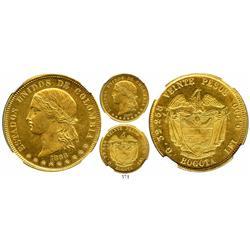 Bogota, Colombia, 20 pesos, 1868, encapsulated NGC MS-62, rare grade.