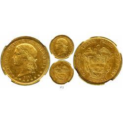 Bogota, Colombia, 20 pesos, 1871, encapsulated NGC AU-58, rare.